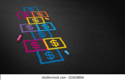 Paying for school concept and education financing business concept as a chalk drawing of a hopscotch game on a floor with dollar signs as an icon of student loans and paying for affordable schooling.