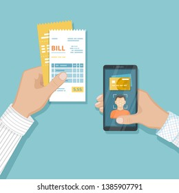 Payment for goods and services using Face Recognition And Identification, Face ID on smartphone. Online bill payment via phone. Mobile phone with Biometric identification, bills in hand  Raster