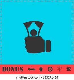 Payment icon flat. Simple illustration symbol and bonus pictogram