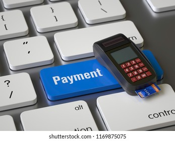 Payment key on the keyboard, 3d rendering,conceptual image.