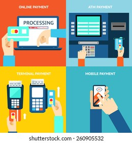 Payment methods. Business and buy, flat design and money. Credit card, cash, mobile app and ATM terminal