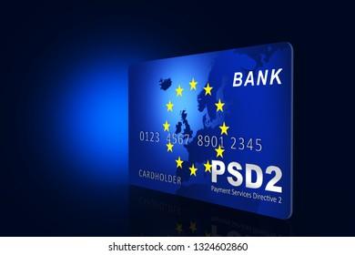 Payment Services Directive 2 (PSD2), credit card, 3D illustration