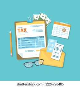 Payment of tax, accounts, bills concept. Financial calendar, tax form for the clipboard, envelope with checks, money, cash, invoices, glasses, pencil. Payday icon. Raster illustration