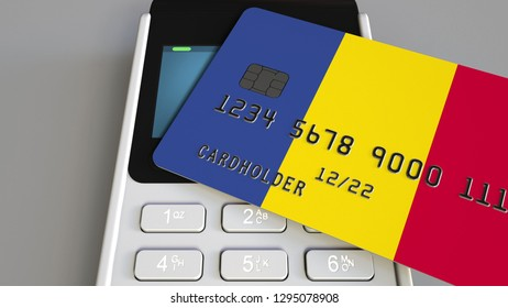 Payment terminal with credit card featuring flag of Romania. Romanian national banking system conceptual 3D rendering