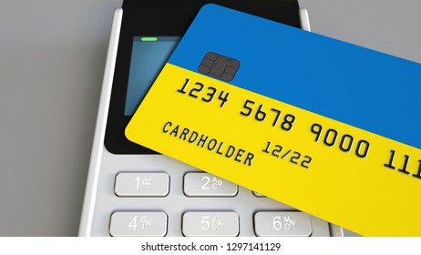 Payment terminal with credit card featuring flag of Ukraine. Ukrainian national banking system conceptual 3D rendering