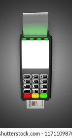 Payment terminal isolated on dark background. Top view 3d illustration.