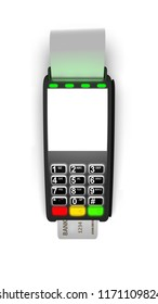 Payment terminal isolated on white background. Top view 3d illustration.