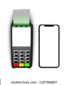 Payment terminal isolated on white background. 3d illustration.