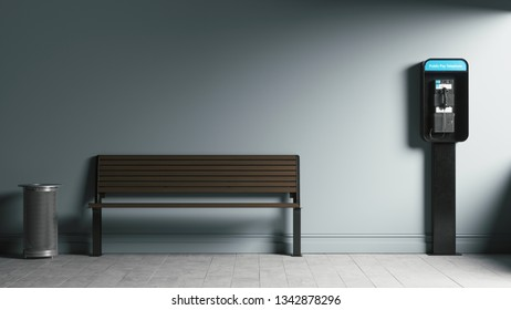 Payphone Booth near the wall. Public phone and wooden bench of a painted wall. 3d illustration of Modern payphone.