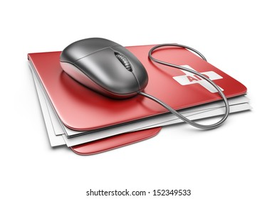 PC computer first aid concept. 3D Icon isolated on white background