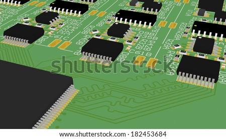pcb 3 d device design wiring schemeprinted stock illustration