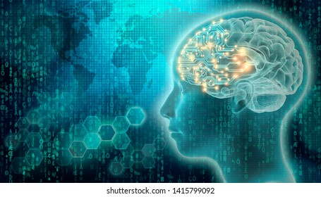 PCB brain with 3d render human head profile. Artificial intelligence or AI concepts. Futuristic science and technology mixed media illustration.