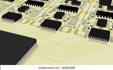 PCB device design wiring scheme,printed circuit board cad designed for computer production manufacturing printing silkscreen texture,technology industrial background,hardware digital footprint yellow