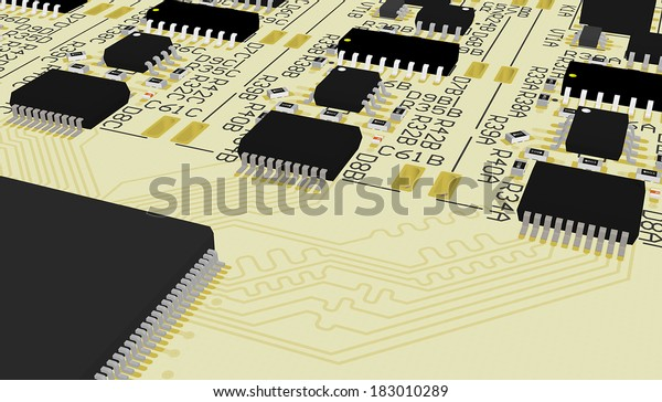 Pcb Device Design Wiring Schemeprinted Circuit Stock Illustration