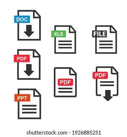 PDF Document icon set. File Icons. PDF file download icon
