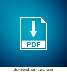 PDF file document icon isolated on blue background. Download PDF button sign. Flat design