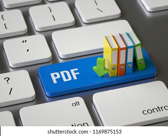 pdf key on the keyboard, 3d rendering,conceptual image