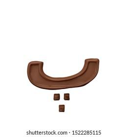 Pe Chocolate Arabic Alphabet letter  FontFamily012 new style 3d volumetric font set isolated on white background illustration