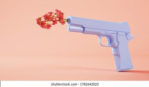 Peace concept: flowers on a gun 3d rendering