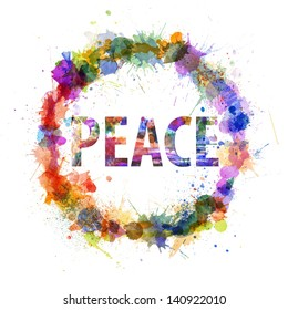 Peace concept, watercolor splashes as a sign isolated on white