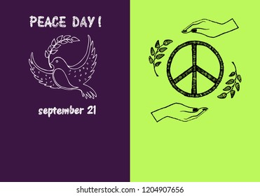 Peace day! September 21, two pictures concerning holiday presenting symbols and filling form for text isolated on green and purple  illustration