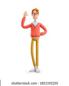 Friedensgeste. Nerd Larry grüßt Sie. 3D-Abbildung.