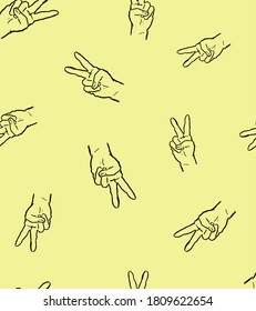 Peace Hands on yellow background
