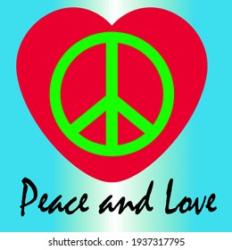 peace and love icon logo creative flat design illustration