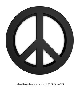 Peace Sign - Black 3D Illustration - Isolated On White Background