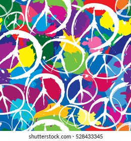 Peace sign tile background. seamless pattern with multicolor symbols of peace