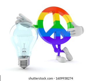 Peace symbol character with light bulb isolated on white background. 3d illustration