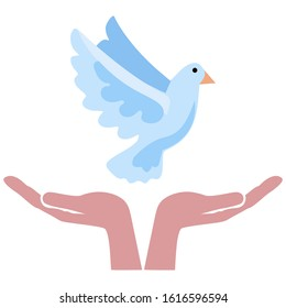 Peace symbol, Purity and Harmony Logo - Dove fly up from woman's hands