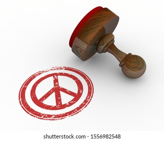 Peace Symbol Sign Stamp Approval Truce 3d Illustration