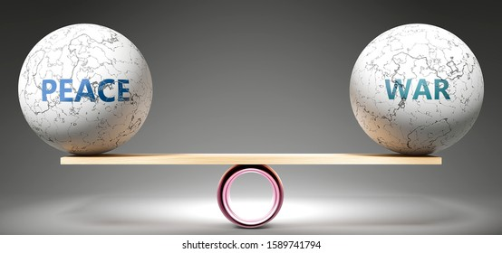 Peace and war in balance - pictured as balanced balls on scale that symbolize harmony and equity between Peace and war that is good and beneficial., 3d illustration