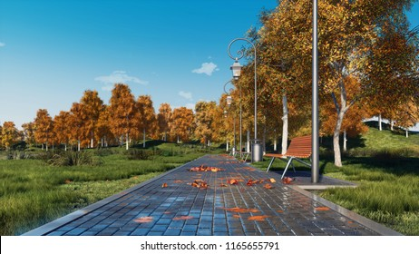 Peaceful autumn landscape - paved walkway with empty benches and lush colorful trees in a city park at quiet sunny autumnal day. With no people 3D illustration from my own 3D rendering file.