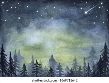 Peaceful spruce forest under night sky full of stars. Fog forest landscape. Watercolor illustration.