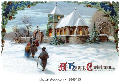 A Peaceful Winter Scenic. Going to church on Christmas Eve - a 1911 vintage Xmas card illustration