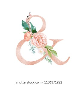 Peach Cream / Blush Floral Alphabet - ampersand & with flowers bouquet composition. Unique collection for wedding invites decoration & other concept ideas.