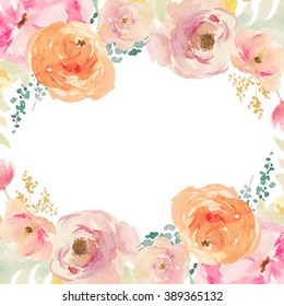 Peach and Orange Watercolor Flower Frame Background with Floral Elements