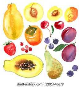 Peach, persimmon, plum, cherry, apricot, pear, strawberry, blueberry, papaya painted with watercolor on a white background. A colored sketch of fruits.