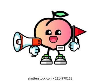 Peach tour guide mascot cartoon illustration