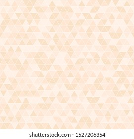 Peach triangle pattern. Seamless background - orange triangles on light beige backdrop
