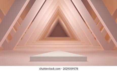 Peach triangular hallway product Podium background. Showcase Pedestal. Minimalist 3d Illustration.