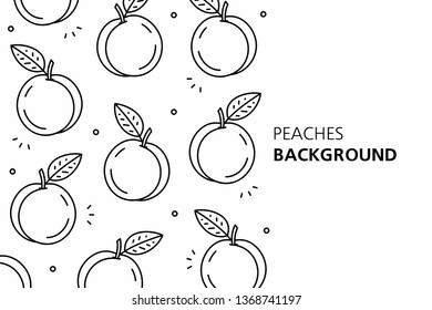 Peaches background. isolated on white background