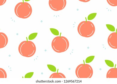 Peaches seamless pattern. Isolated on White background