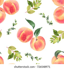Peaches watercolor seamless pattern