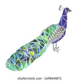Peacock bird watercolor mosaic design