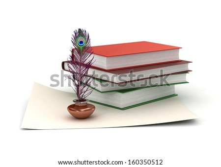 Peacock Feather Quill Inkwell Paper Stack Stock Illustration