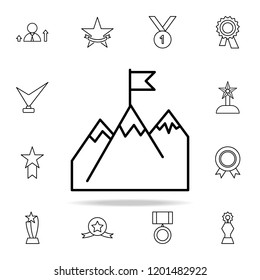 peak of a mountain with a flag icon. Succes and awards icons universal set for web and mobile