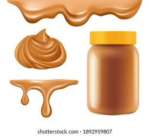 Peanut butter. Healthy breakfast caramel or chocolate butter sweet creamy dessert realistic collection